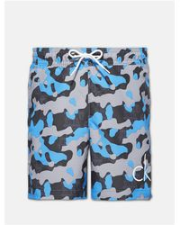 3c773f3d9d576 Lyst - Calvin Klein Boys Ck Print Camo Logo Swim Shorts in Blue for Men