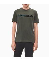 Calvin Klein T-shirt Met Flock Logoprint in het Green voor heren