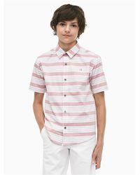 Calvin Klein White Boys Yarn-dyed Stripe Short Sleeve Shirt for men