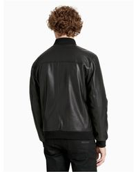 Calvin Klein | Black Smooth Faux Leather Bomber Jacket for Men | Lyst