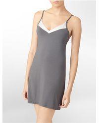Calvin Klein | Gray Underwear Essentials Satin Trim Chemise | Lyst