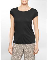 Calvin Klein | Black Underwear Cotton Modal Short Sleeve Top | Lyst