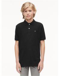 Calvin Klein - Black Boys Micro Pique Polo Shirt for Men - Lyst