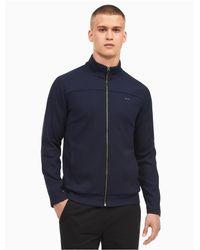 Calvin Klein - Blue Regular Fit Colorblock Quarter Zip Sweater for Men - Lyst