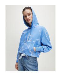 Calvin Klein Hoodie Van Biologisch Katoen Met Logo Op Rug in het Blue