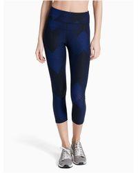 Calvin Klein | Blue Performance High Waist Printed Mesh Cropped Leggings | Lyst