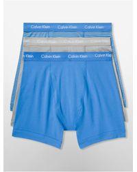 Calvin Klein | Blue Underwear Cotton Stretch 3-pack Boxer Brief for Men | Lyst