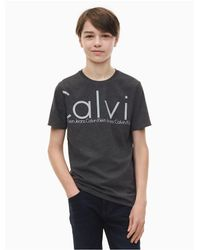 Calvin Klein Gray Boys Tonal Logo Crewneck T-shirt for men