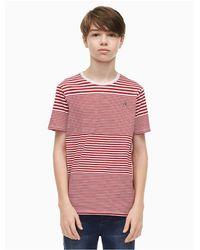 Calvin Klein Red Boys Fine Stripe Crewneck T-shirt for men