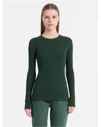 33460aa31f6c Lyst - Calvin Klein 205W39Nyc Slim Fit Cotton Silk Rib Sweater in Green