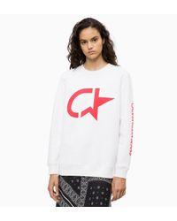 Calvin Klein Sweatshirt Met Print in het White