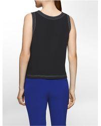 CALVIN KLEIN 205W39NYC - Black Platinum Platinum Contrast-stitch Stretch Crepe Top - Lyst