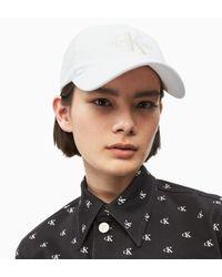 Calvin Klein White Cotton Twill Monogram Cap