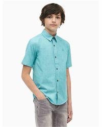 Calvin Klein Blue Boys Logo Button-down Short Sleeve Shirt for men