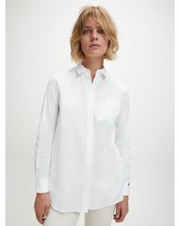 Calvin Klein Relaxed Poplin Tuniekshirt in het White
