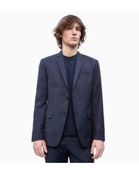 Calvin Klein Blue Slim Virgin Wool Check Blazer for men