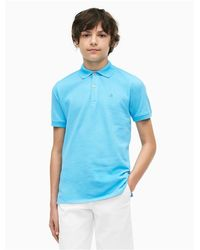 Calvin Klein Blue Boys Micro Pique Polo Shirt for men