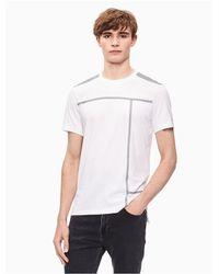 Calvin Klein White Regular Fit Mixed Media Tape T-shirt for men