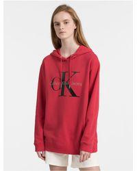 Calvin Klein Red Monogram Logo Drop Shoulder Hoodie