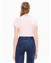 CALVIN KLEIN 205W39NYC Pink Cotton Modal Logo T-shirt
