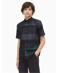 Calvin Klein Black Boys Fragment Stripe Short Sleeve Shirt for men