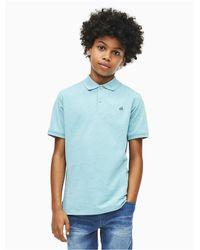 Calvin Klein Blue Boys Micro Pique Polo Shirt for men