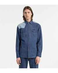 Calvin Klein Tweekleurig Denim Western Overhemd in het Blue voor heren