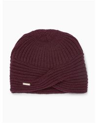 Calvin Klein | Purple Solid Ribbed Turban Hat | Lyst