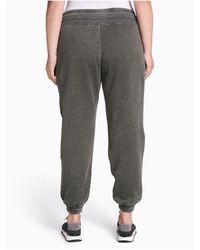 Calvin Klein Gray Plus Size Performance Distressed Fleece Ankle Joggers