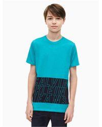 Calvin Klein Blue Boys Band Logo Crewneck T-shirt for men