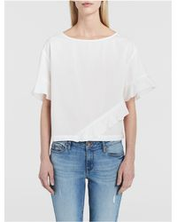 Calvin Klein | White Jeans Solid Ruffle T-shirt | Lyst