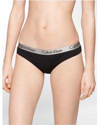 Calvin Klein   Black Underwear Logo Cotton Stretch Thong   Lyst