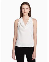 CALVIN KLEIN 205W39NYC - White Charmeuse Sleeveless Top - Lyst