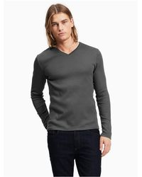 Calvin Klein - Gray Classic Fit Long Sleeve V-neck Ribbed Tee for Men - Lyst