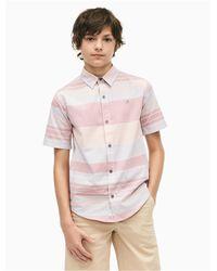 Calvin Klein Pink Boys Fragment Stripe Short Sleeve Shirt for men