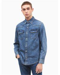 Calvin Klein Blue Slim Fit Western Denim Shirt for men