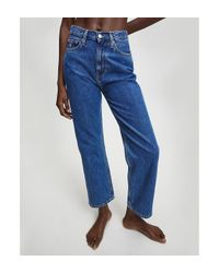 Calvin Klein High Rise Straight Enkellange Jeans in het Blue