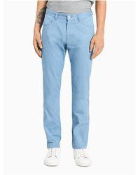 Calvin Klein Blue Slim Fit Cotton Sateen Pants for men
