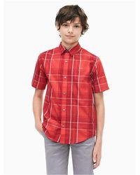 Calvin Klein Red Boys Plaid Short Sleeve Shirt for men