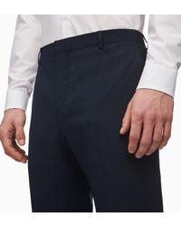 Calvin Klein Slim Fit Wol Stretch Pied-de-poulle Broek in het Blue voor heren