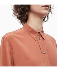 Calvin Klein Zijden Overhemd in het Brown