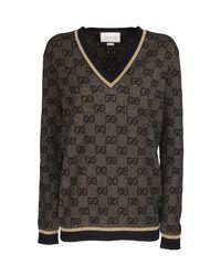 Gucci Multicolor V-neck Wool Sweater With Gg