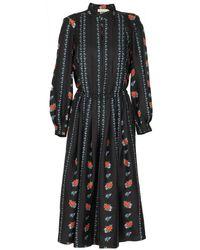 Tory Burch Black Printed Long Sleeve Dress