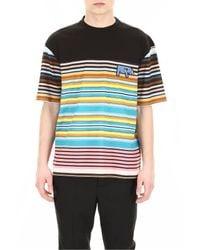 Prada Blue Multicolor Cotton T-shirt for men