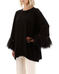 Valentino Black Maxi T-shirt With Feathers