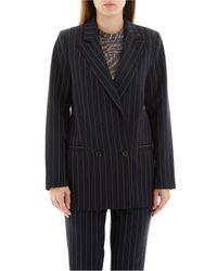 Ganni Black Pinstriped Blazer