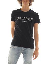 Balmain Black T-shirts And Polos