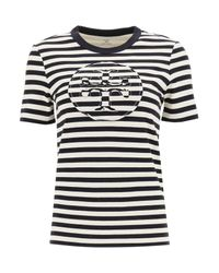 Tory Burch Multicolor Striped T-shirt With Logo Pocket
