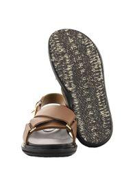 Marni Criss-cross Fussbett In Brown Leather Sandals