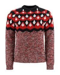 Prada Red Jacquard Sweater F3 for men